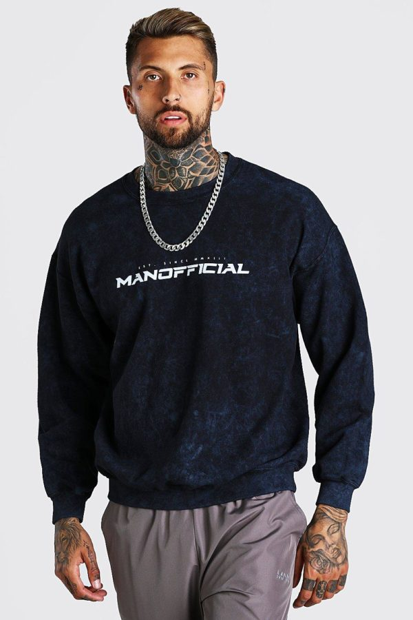 Mens Grey Oversized Man Official Enzyme Wash Jumper loving the sales