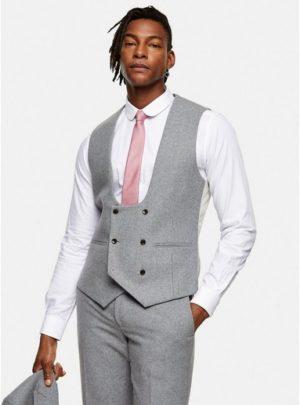 Mens Harry Brown Grey Tweed Slim Fit Suit Waistcoat