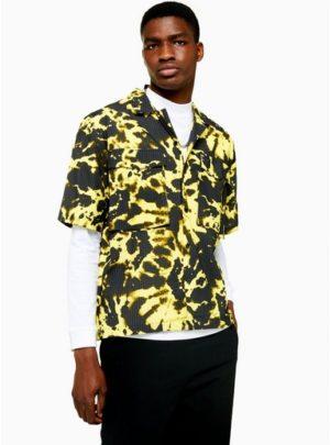 Mens Multi Jaded Neon Tie Dye Seersucker Revere Shirt*