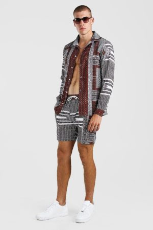 Mens Multi Long Sleeve Aztec Print Shirt And Short Set loving the sales