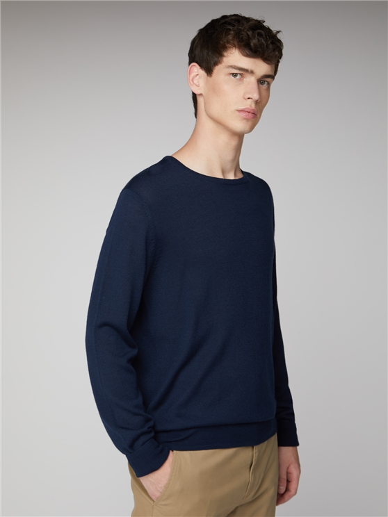 Men's Navy Merino Crew Neck Jumper | Ben Sherman | Est 1963 - Xxl loving the sales