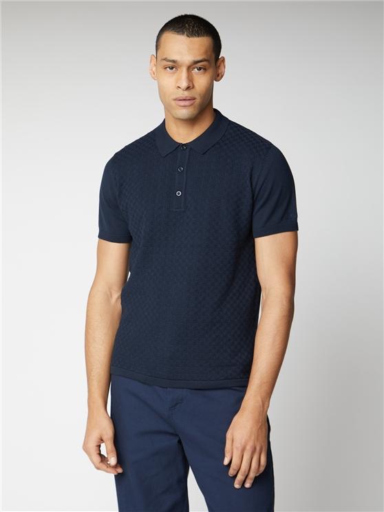 Men's Navy Textured Knit Polo Shirt   Ben Sherman   Est 1963 - Medium loving the sales
