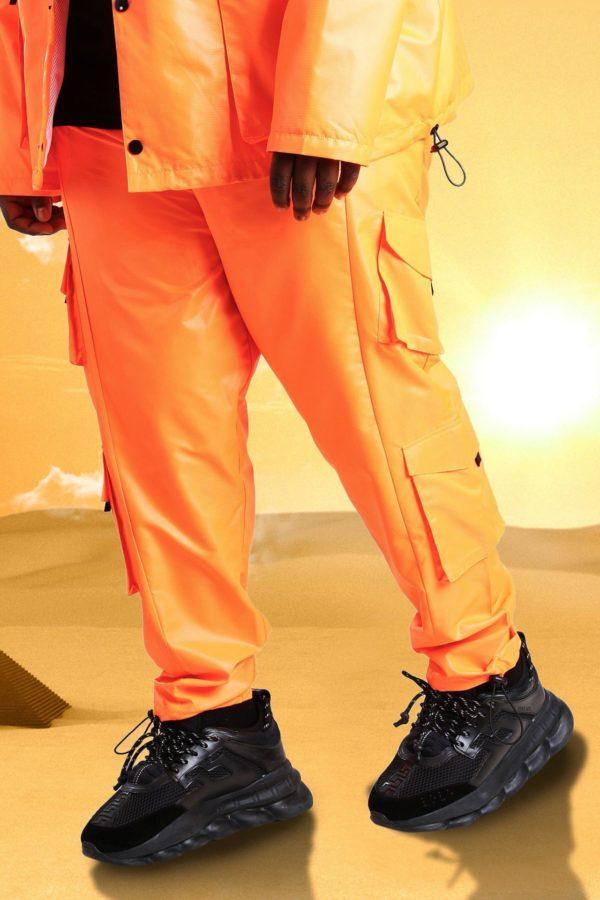 Mens Orange Plus Size Burna Boy Cargo Trouser loving the sales