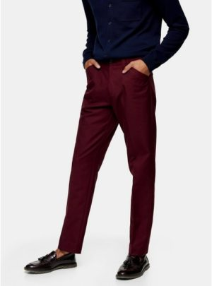 Mens Pink Farah Burgundy Hopsack Flat Front Trousers*