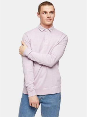 Mens Purple Lilac Wash Rugby Sweatshirt
