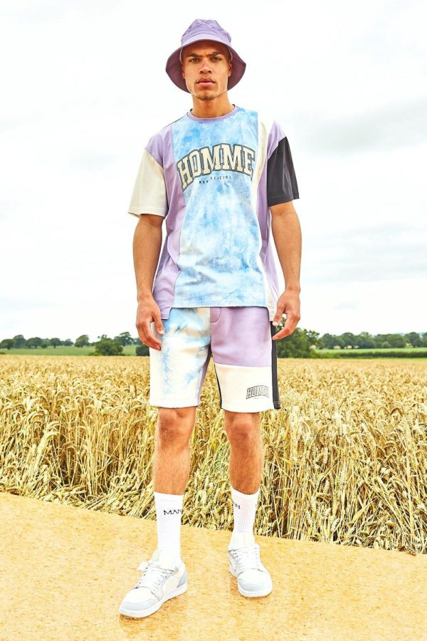 Mens Purple Varsity Homme Spliced Tie Dye T-Shirt And Short Set loving the sales