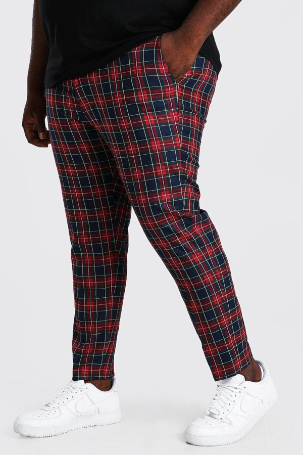 Mens Red Plus Size Skinny Cropped Chain Tartan Trouser loving the sales