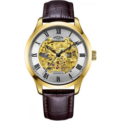Mens Rotary Vintage Mecanique Skeleton Automatic Watch loving the sales