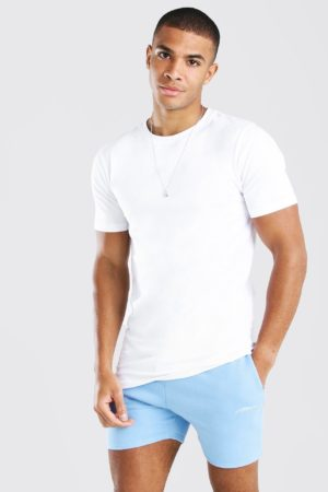 Mens White Longline Muscle Fit T-Shirt loving the sales