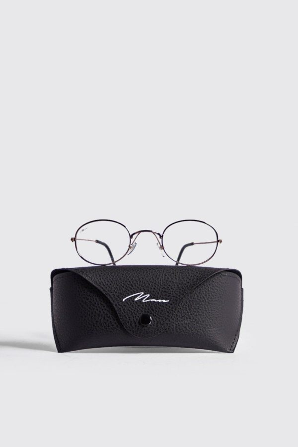 Mens White Man Branded Oval Fashion Glasses With Case loving the sales
