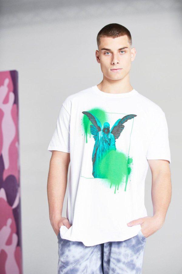 Mens White Oversized Statue Graffiti Print T-Shirt loving the sales
