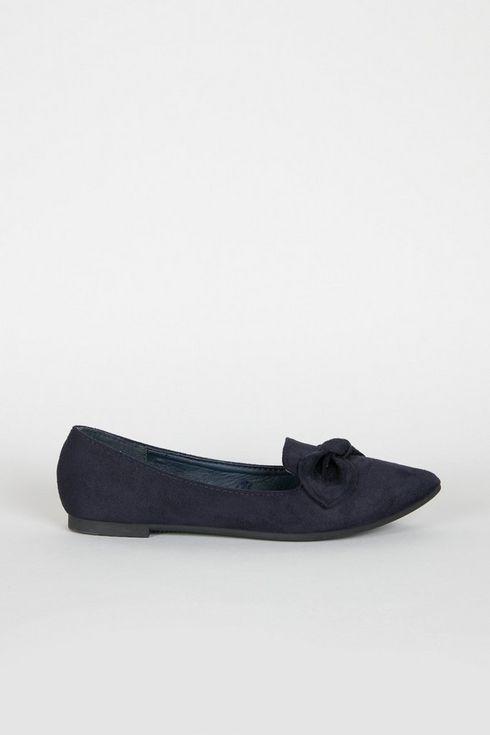 Navy Bow Detail Ballerina Shoe