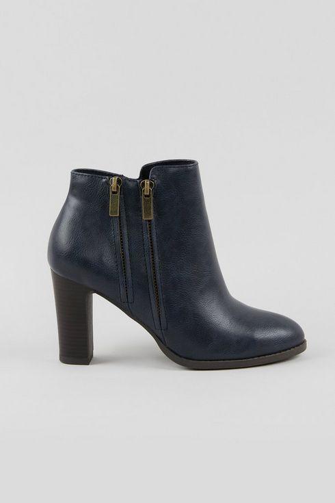 Navy Double Zip Ankle Boot