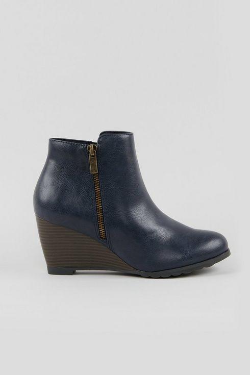 Navy Wedge Heel Boot