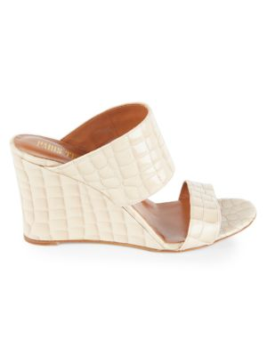 Patent Croc-Embossed Leather Wedge Mules loving the sales
