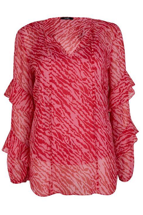 Pink Animal Print Frill Sleeve Blouse