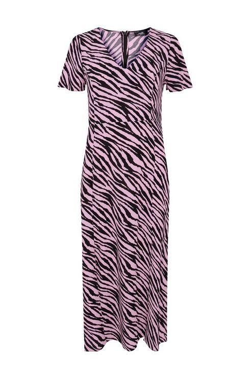 Pink Animal Print Split Front Midi Dress