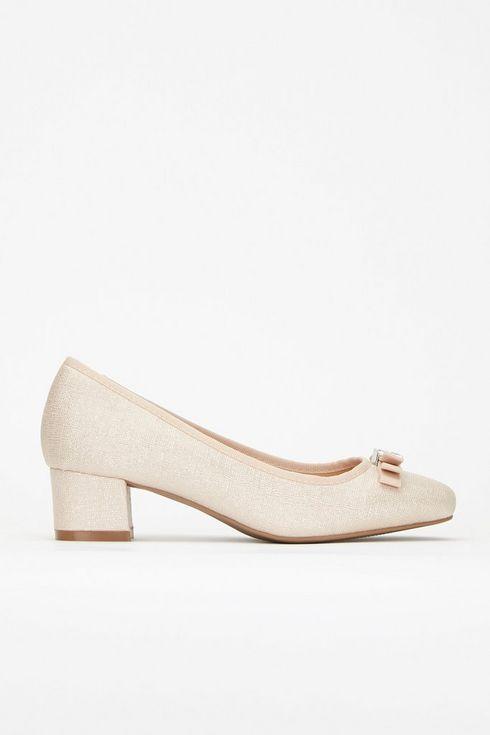 Pink Bow Low Heel Ballerina Shoe