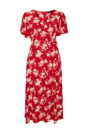 Red Floral Print Midi Dress
