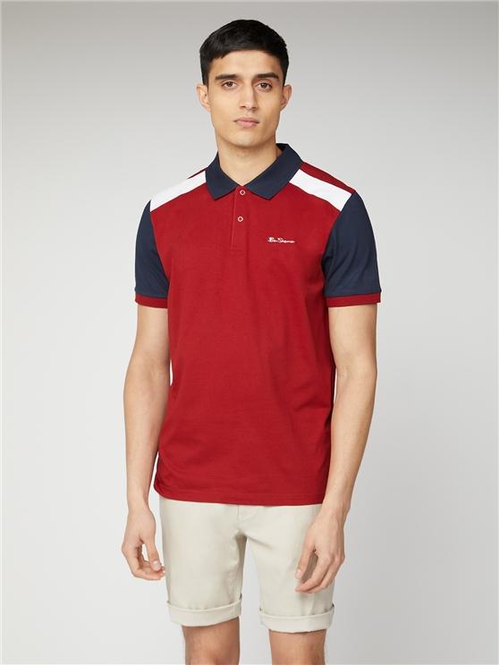 Red & Navy Jersey Sports Polo Shirt | Ben Sherman | Est 1963 - Medium loving the sales