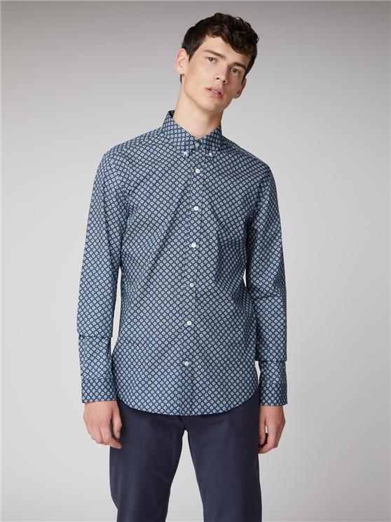 Retro Geometric Navy Blue Oxford Shirt | Ben Sherman | Est 1963 - Small loving the sales