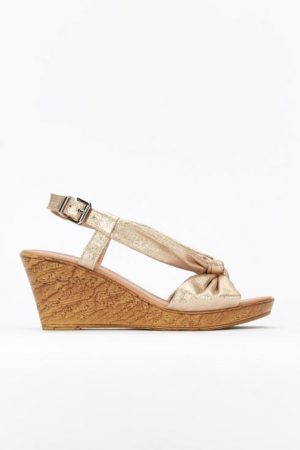 **Rose Gold Knotted Slingback Wedge