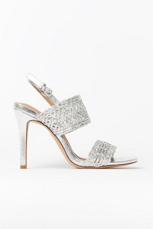 Silver Cage Detail Strap Heel