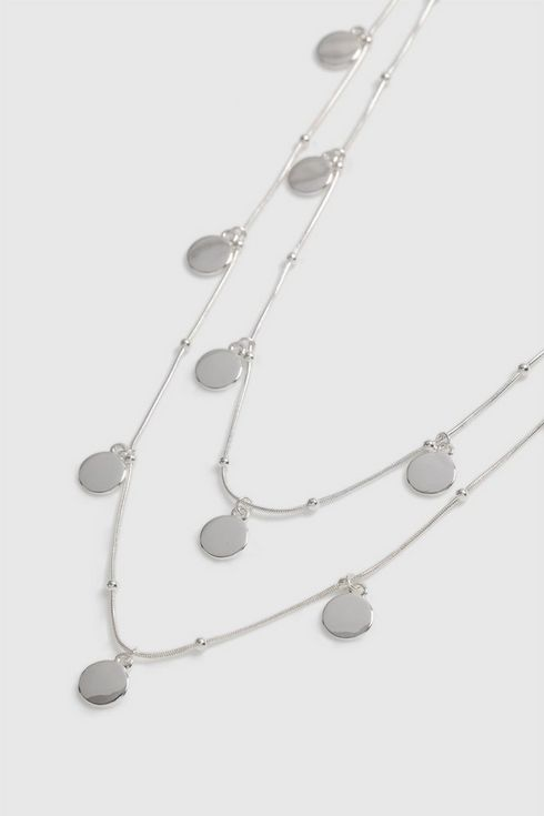 Silver Disc Drop Necklace