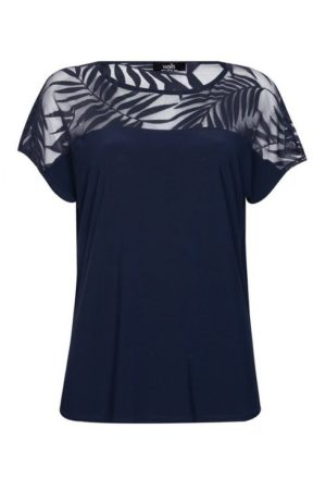 **Tall Navy Palm Print Sheer Detail Top