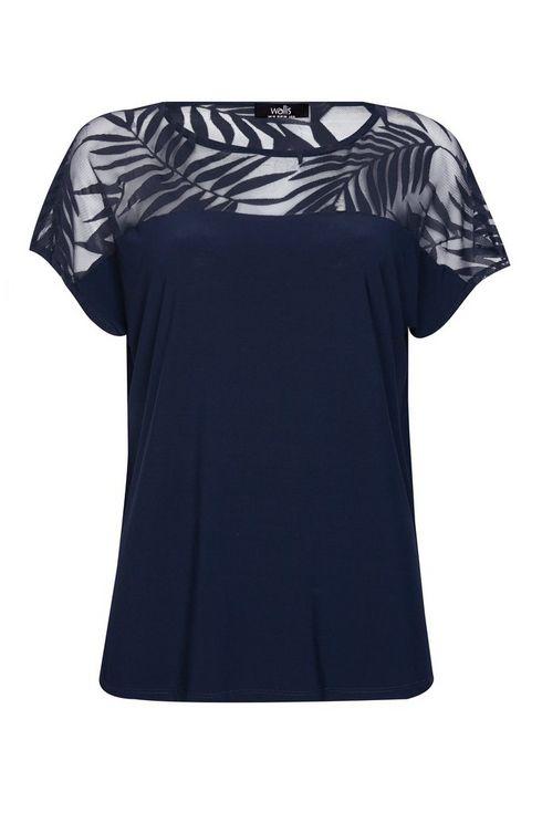 **Tall Navy Palm Print Sheer Detail Top