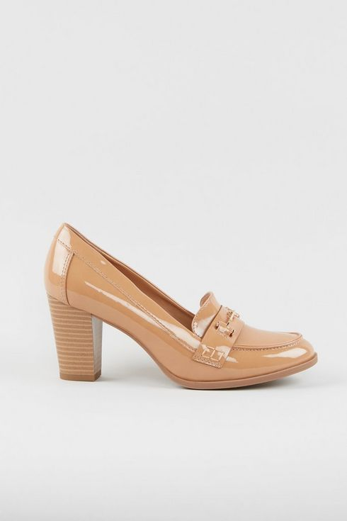 Tan Patent Heeled Loafer