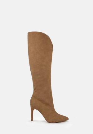 Taupe Faux Suede Curve Top Knee High Boots loving the sales