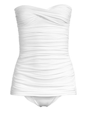 Walter Mio Strapless Ruched One-Piece Swimsuit loving the sales