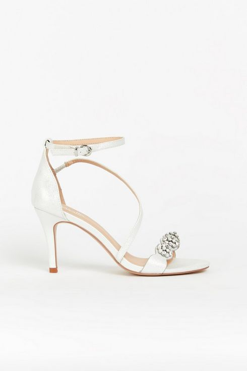**White Diamante Strap Heel