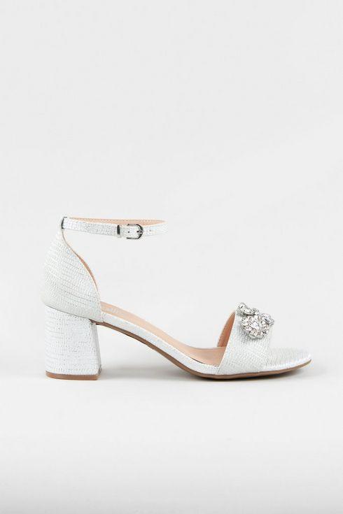 White Embellished High Block Heel