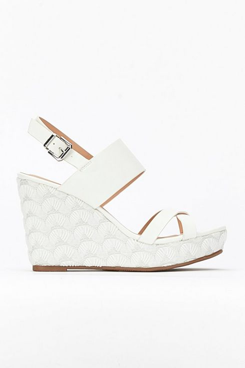 White Lace Effect Wedge Sandal