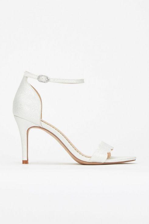 **White Scallop Heeled Sandal