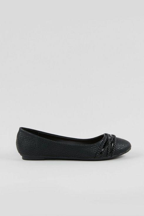 **Wide Fit Black Plait Detail Ballet Pumps