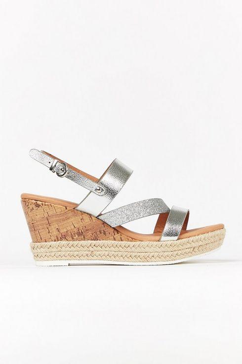 **Wide Fit Silver Glitter Strap Wedge Sandal