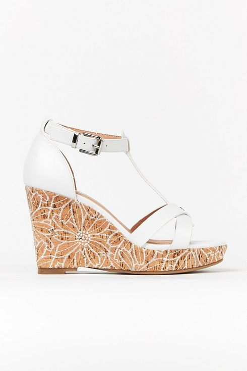 **Wide Fit White Textured Wedge Sandal