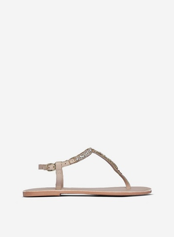 Womens Beige Leather 'Jules' Sandals - White