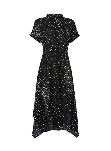 Womens Billie & Blossom Black Star Print Shirt Midi Dress
