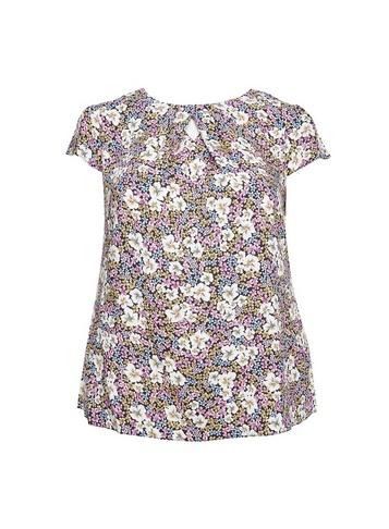 Womens Billie & Blossom Curve Multi Colour Ditsy Lilac Print Pleated Top - Black