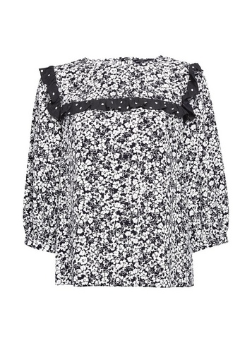 Womens Black And White Front Yoke Ruffle Top - Multi Colour