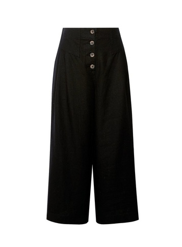 Womens Black Button Culotte Trousers With Linen