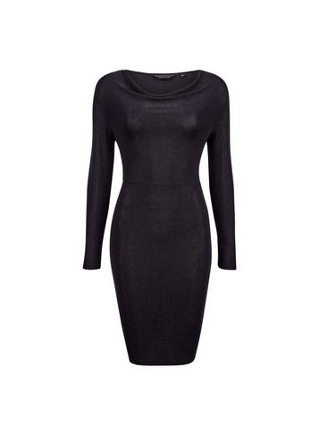 Womens Black Cowl Neck Bodycon Dress