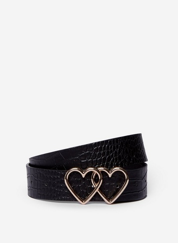 Womens Black Double Heart Belt