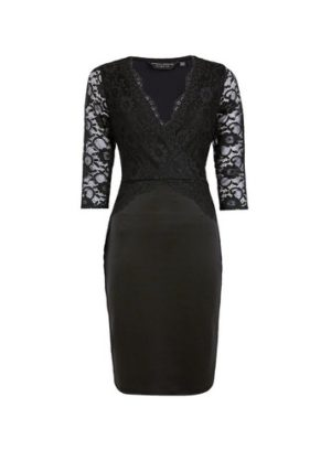 Womens Black Lace Top Bodycon Dress