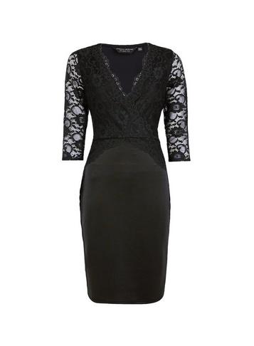 Womens Black Lace Top Bodycon Dress