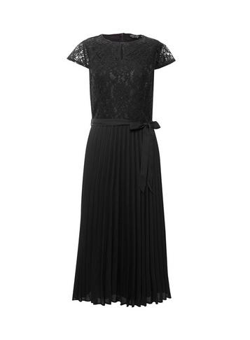Womens Black Pleated 'Alice' Lace Midi Dress